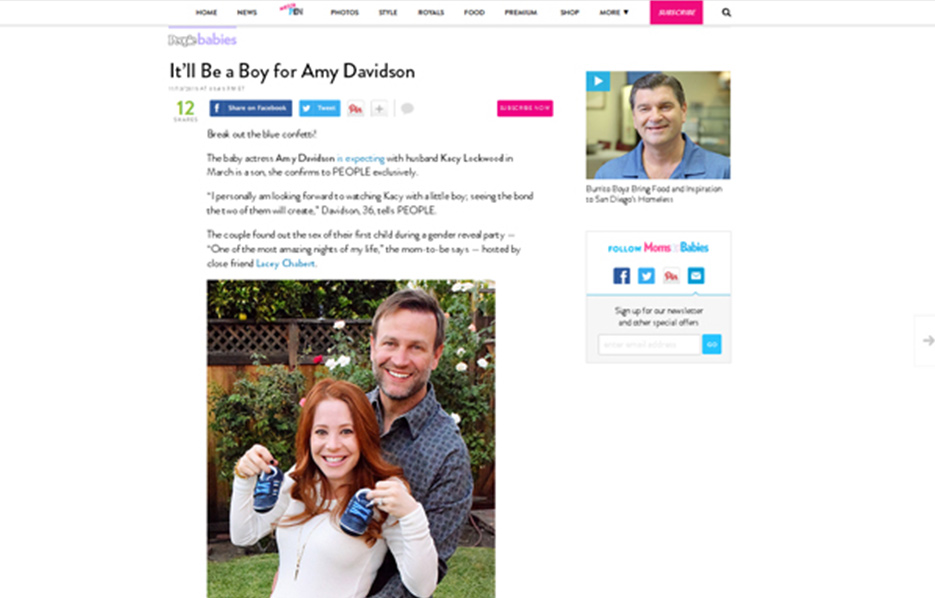 Amy Davidson using Stride Rite Sneakers in a People Babies Blog Article