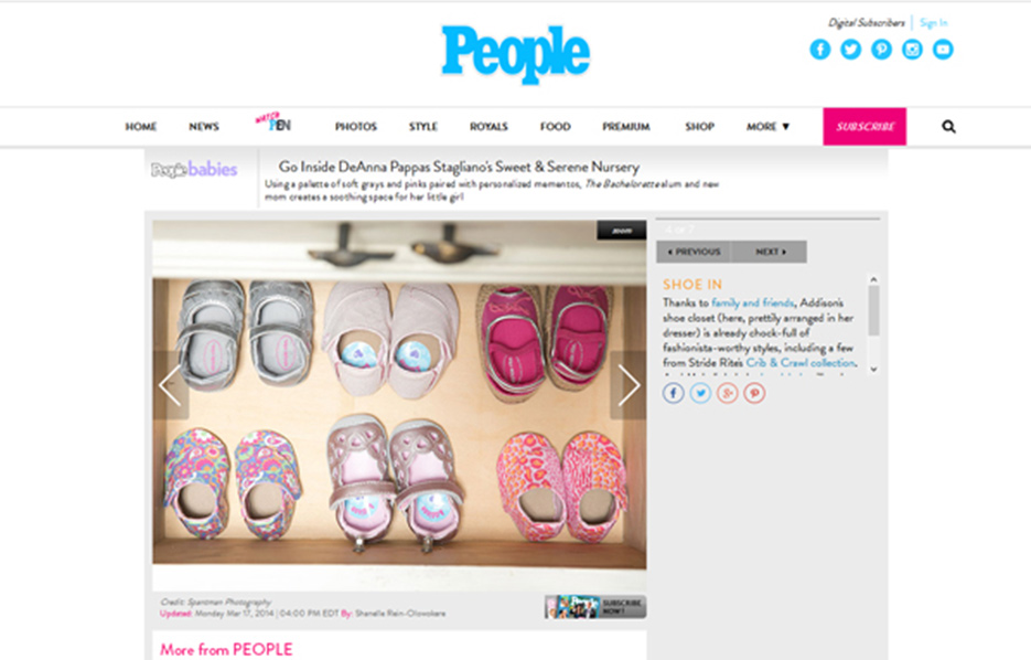 DeAnna Stagliano using Stride Rite Sneakers in a People Babies Blog Article