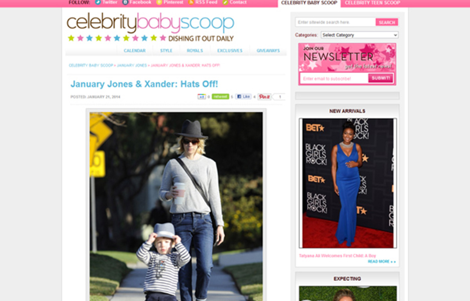 January Jones using Stride Rite Sneakers in a Celebrity Baby Scoop Blog Article