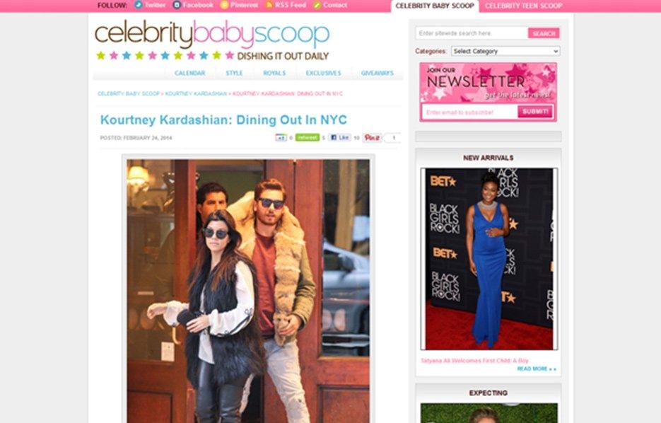 Kourtney Kardashian using Stride Rite Sneakers in a Celebrity Baby Scoop Blog Article