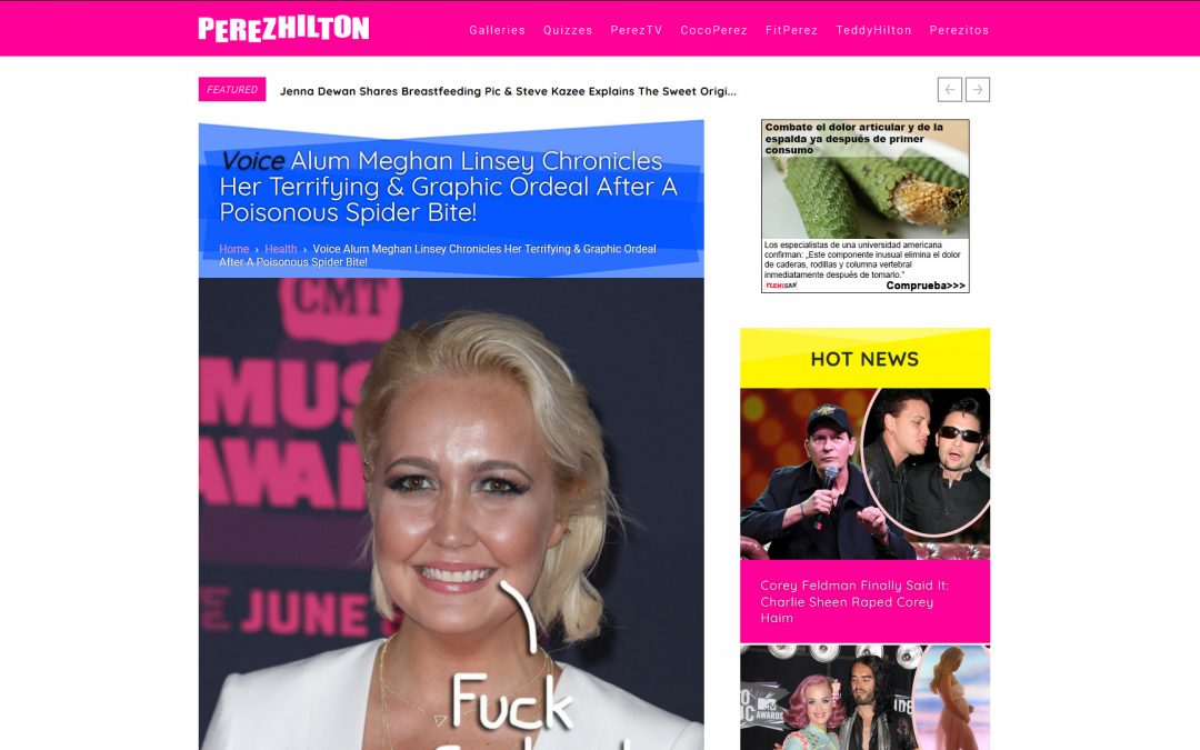 Stratpharma products being used in a Perez Hilton Blog Article