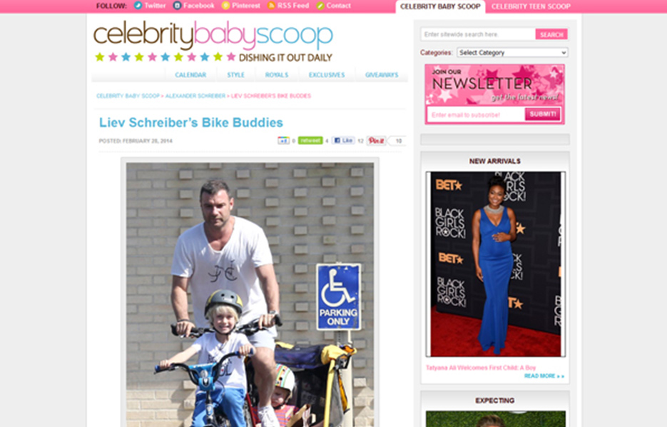 Liev Schreiber using Stride Rite Sneakers in a Celebrity Baby Scoop Blog Article