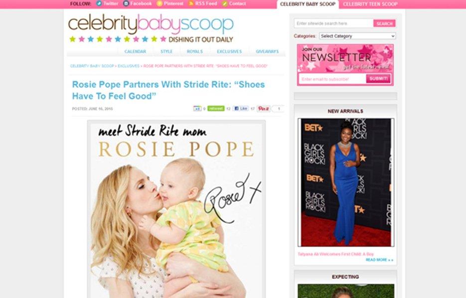 Rosie Pope using Stride Rite Sneakers in a Celebrity Baby Scoop Blog Article