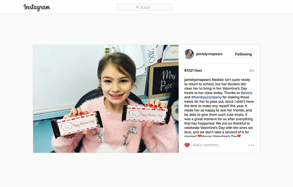 Avery products being used in a Jamie Lynn Spears Instagram Post