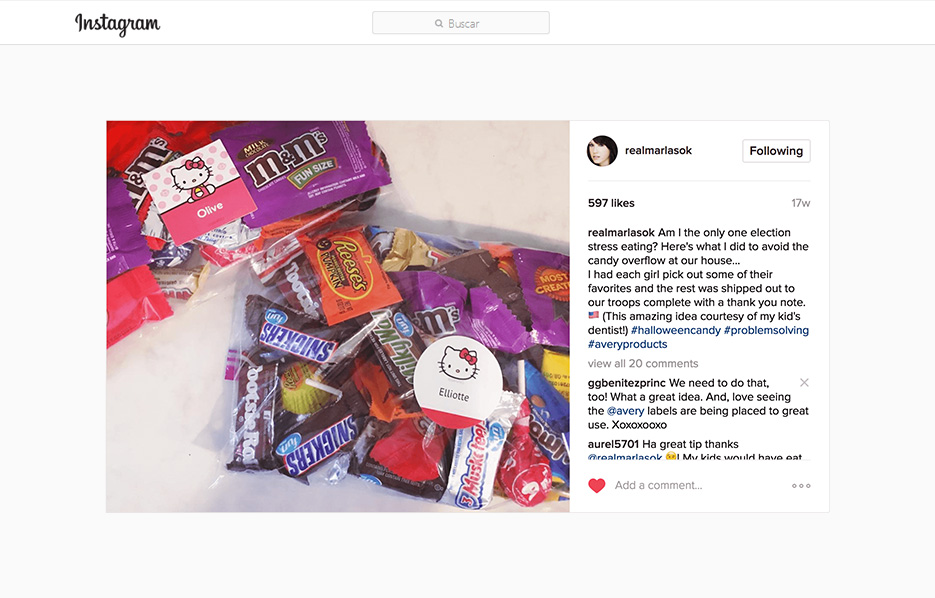 Avery products being used in a Marla Sokoloff Instagram Post