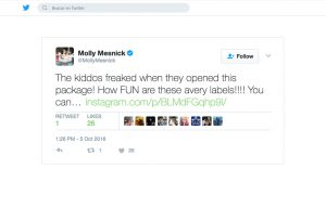 Avery products being used in a Molly Mesnick Twitter Post
