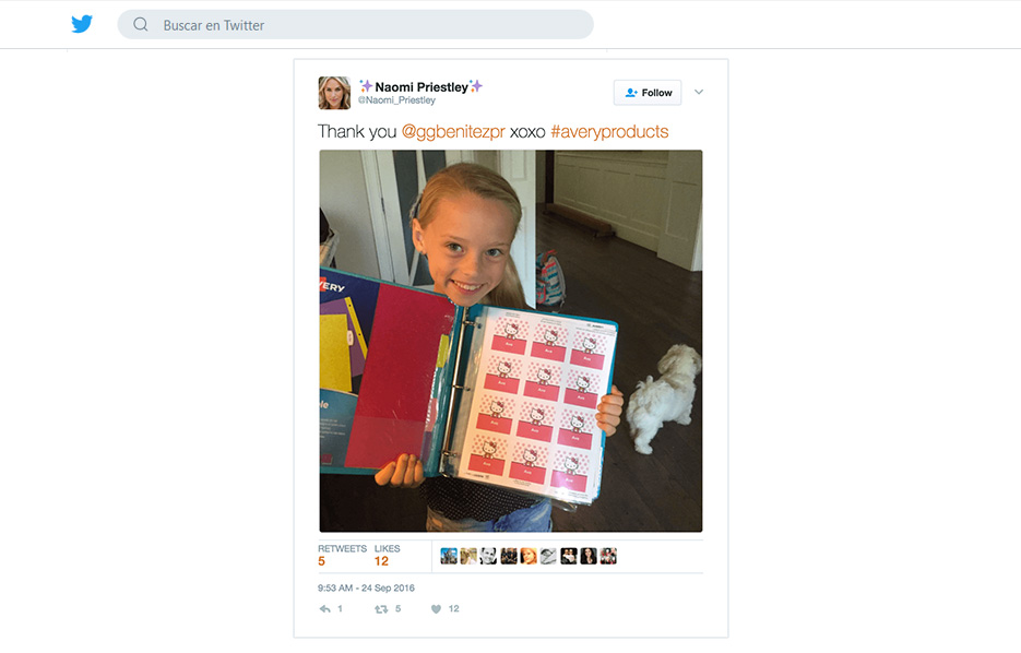 Avery products being used in a Naomi Priestley Twitter Post