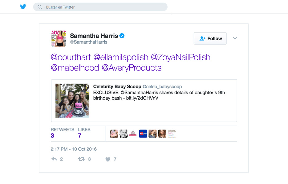 Avery products being used in a Samantha Harris Twitter Post
