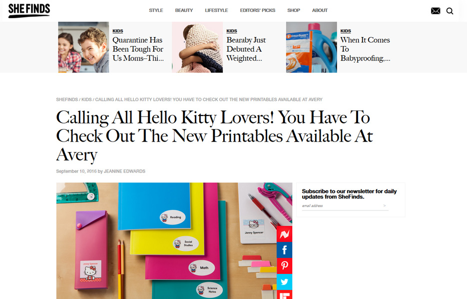 Avery products in a She Finds Blog Article
