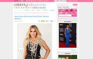 Anya Sarre using Carousel Desing products in a Celebrity Baby Scoop Blog Article