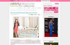 Beverly Mitchel using Carousel Desing products in a Celebrity Baby Scoop Blog Article
