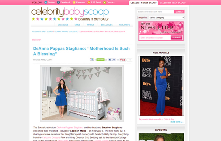DeAnna Stagliano using Carousel Desing products in a Celebrity Baby Scoop Blog Article