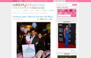 The Lopez Family using Carousel Desing products in a Celebrity Baby Scoop Blog Article