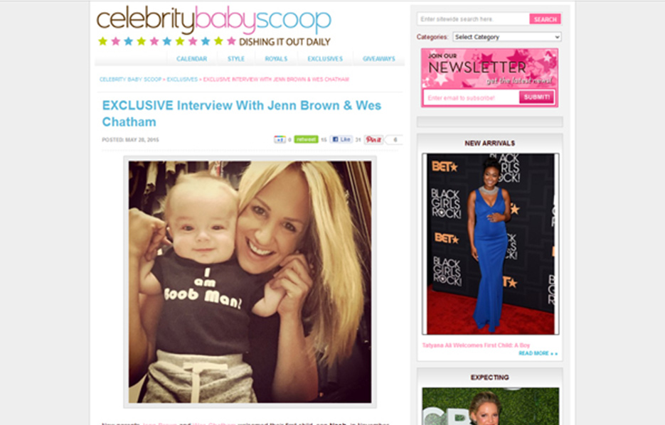 Jenn Brown using Stride Rite Sneakers in a Celebrity Baby Scoop Blog Article
