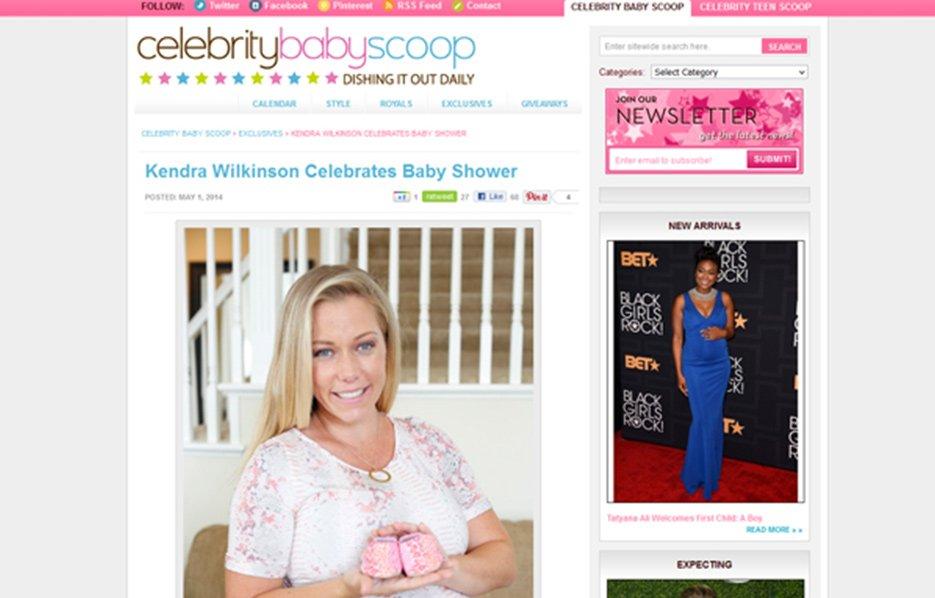 Kendra Wilkinson using Stride Rite Sneakers in a Celebrity Baby Scoop Blog Article