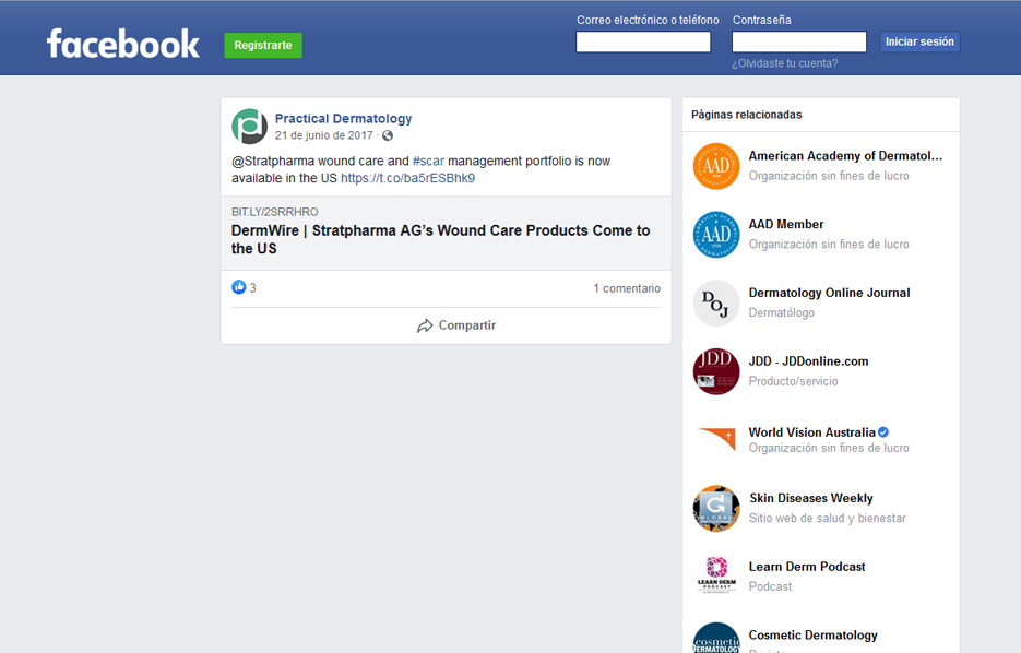 Stratpharma products being used in a Practical Dermatology Facebook Post