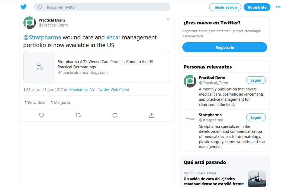 Stratpharma products being used in a Practical Dermatology Twitter Post