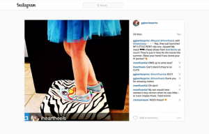 GG Benitez Reposting a i heart heels Instagram Post using Stride Ride Products