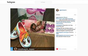 GG Benitez Reposting a Courtney Lopez Instagram Post using Stride Ride Products