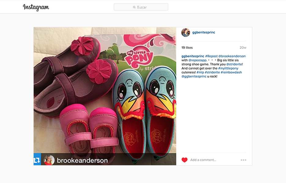 GG Benitez Reposting a Brooke Anderson Instagram Post using Stride Ride Products