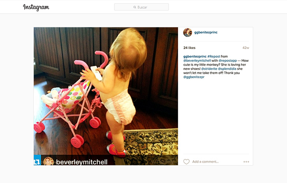 GG Benitez Reposting a Beverley Mitchell Instagram Post using Stride Ride Products