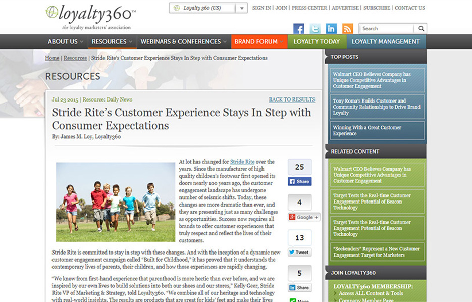 Stride Ride Products in a Loyalty 360 Blog Article