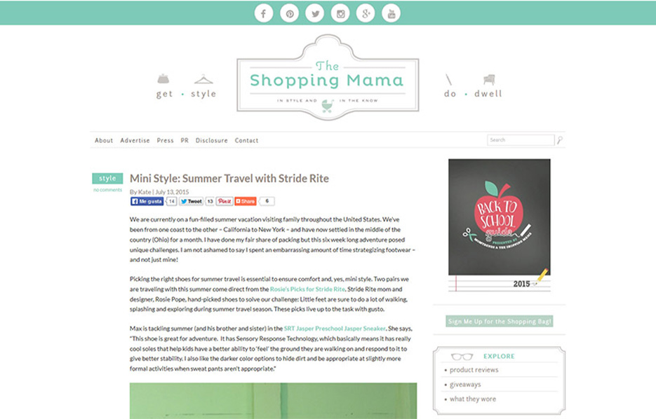 Stride Ride Products in a Shopping Mama Blog Article