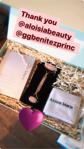 Adriana Lima Mentioning Aloisia Beauty and GG Benitez in her instagram Stories