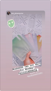 Alisan Porter Mentioning Aloisia Beauty in her instagram Stories