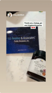 Ama Davidson mentioning Shop Pri and GG Benitez in her Instagram Stories