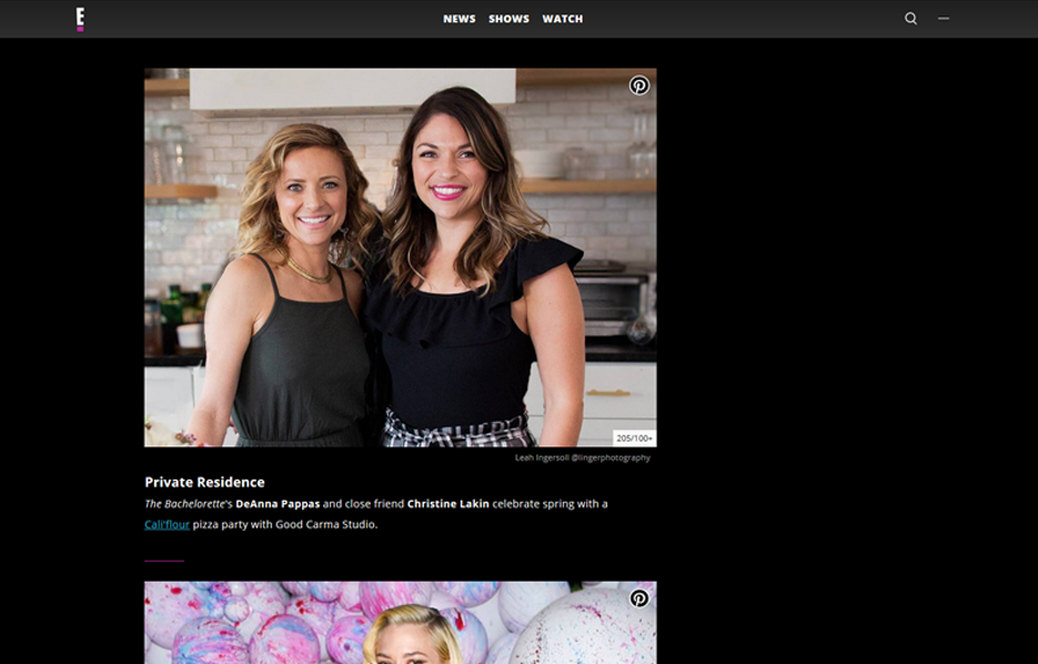 Cali'Flour Foods recipe being made by DeAnna Stagliano and Cristine Lakin in a E! News Blog Article
