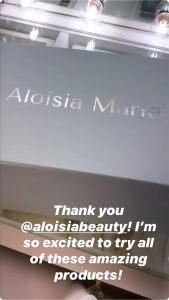 Casey Beau Mentioning Aloisia Beauty in her instagram Stories