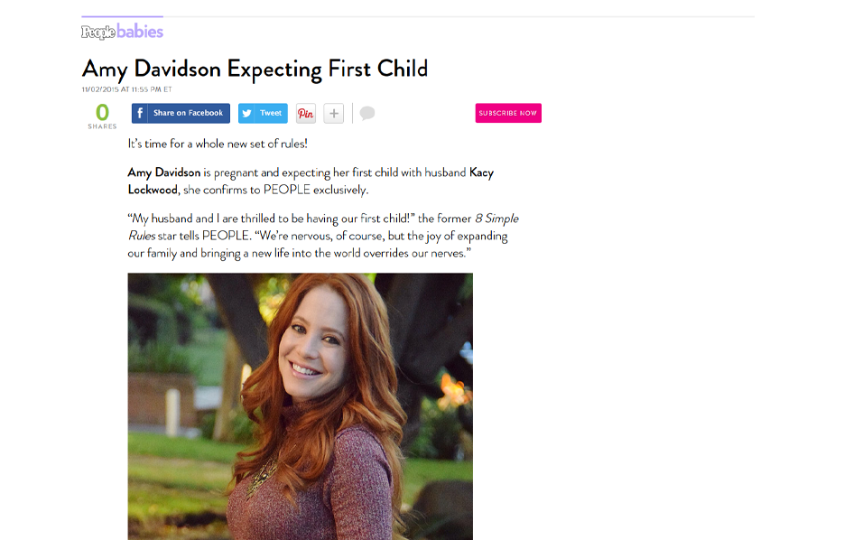 Celebrity Amy Davidson using evolur products in a People Babies Blog Article