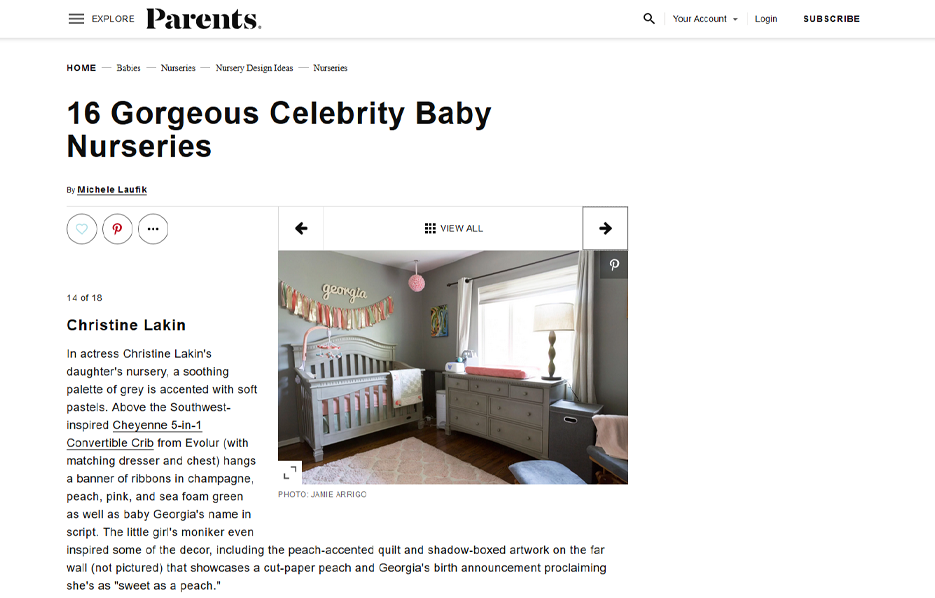 Celebrity Christine Lakin using evolur products in a Parents Magazine Article