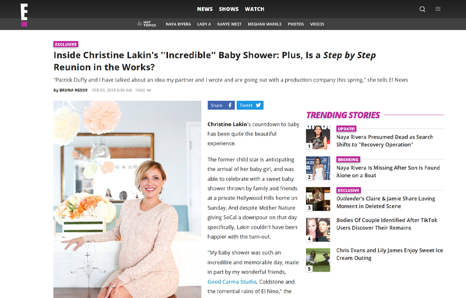 Celebrity Christine Lakin using evolur products in a E! News Blog Article