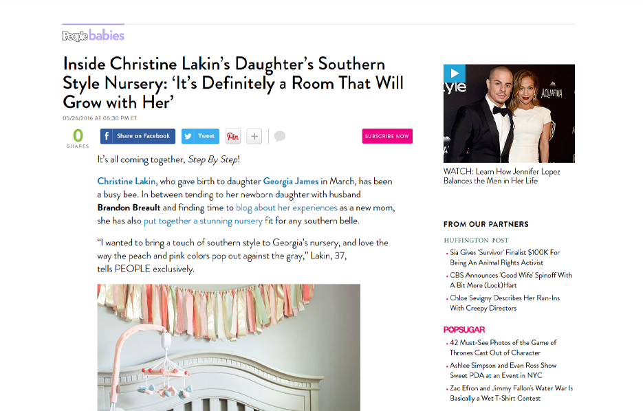 Celebrity Christine Lakin using evolur products in a People Babies Blog Article