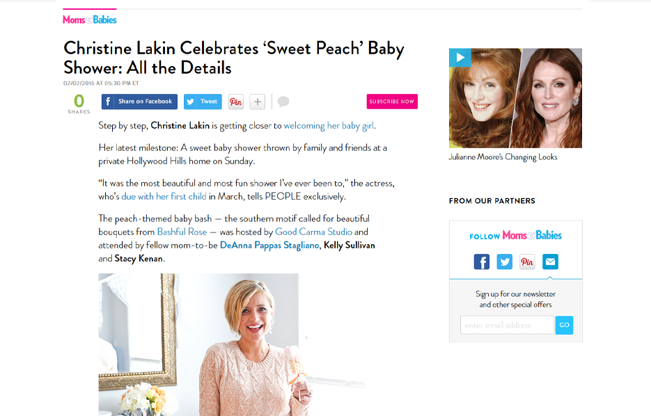 Celebrity Christine Lakin using evolur products in a Moms and Babies Blog Article