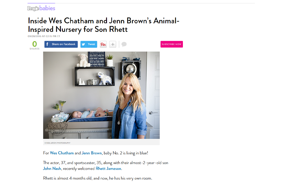 Celebrity Jenn Brown using evolur products in a People Babies Blog Article