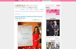 Beverly Mitchell using Mabel's labels products in a Celebrity Baby Scoop Blog Article