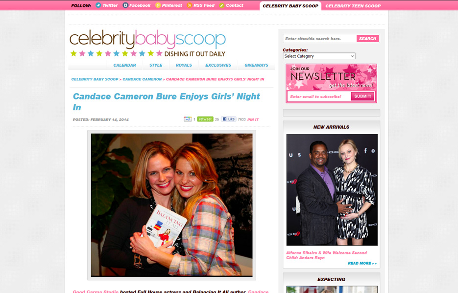 Candace Cameron using Mabel's labels products in a Celebrity Baby Scoop Blog Article