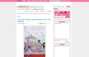 Courtney Mazza using Mabel's labels products in a Celebrity Baby Scoop Blog Article