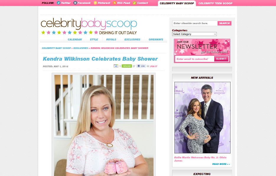 Kendra Wilkinson using Mabel's labels products in a Celebrity Baby Scoop Blog Article