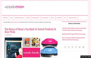 Mabel's labels products in a Modern Mom Blog Article