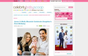 Molly Mesnick using Mabel's labels products in a Celebrity Baby Scoop Blog Article
