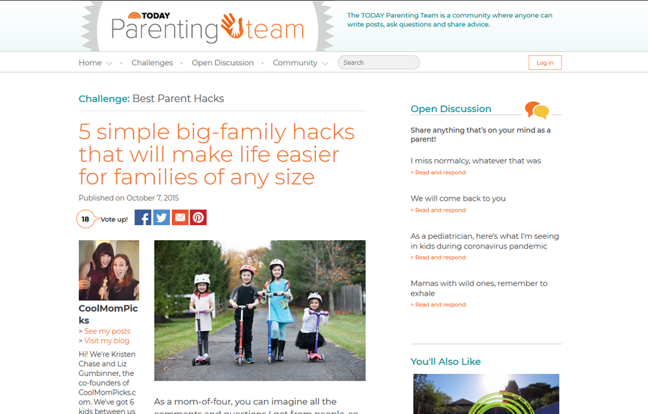 Mabel's labels products in a Parenting Team Blog Article