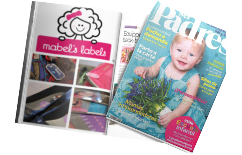 Mabel's labels products in a Ser Padres Magazine Article