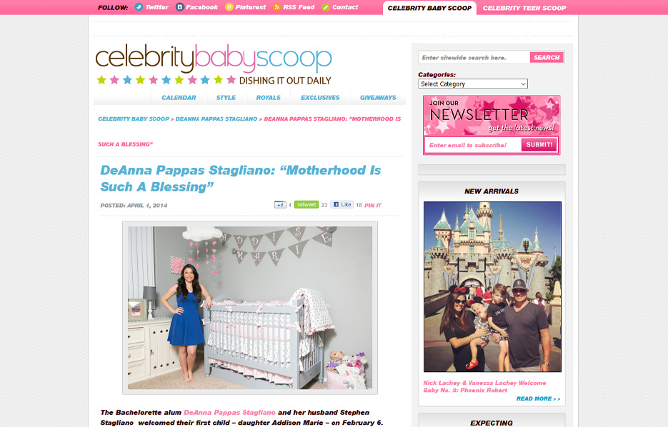 DeAnna Stagliano using Posh Mommy products in a Celebrity Baby Scoop Blog Article