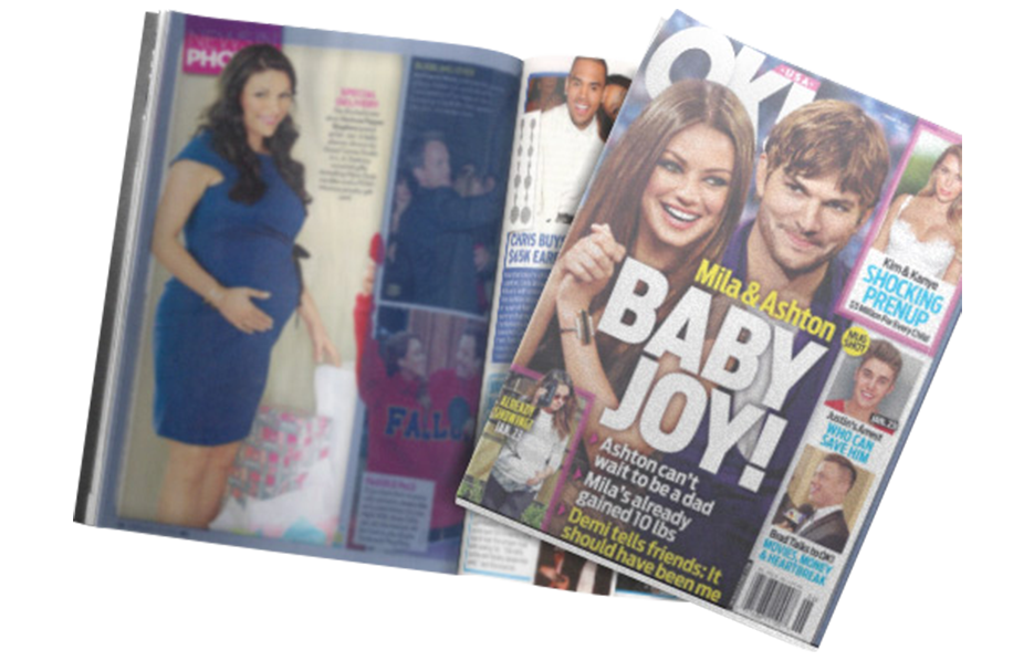 DeAnna Stagliano using Posh Mommy products in a OK! Magazine Article