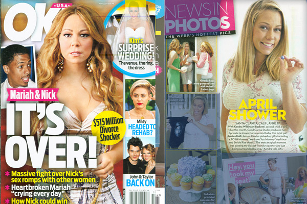 Kendra Wilkinson using Posh Mommy products in a OK! Magazine Article