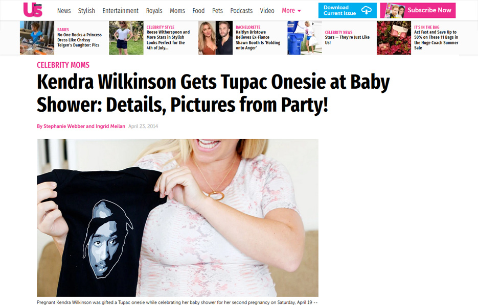 Kendra Wilkinson using Posh Mommy products in a US Weekly Magazine Blog Article